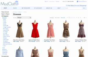 Modcloth Landing Page